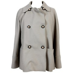 Missoni Beige Wool Angora Cashmere Double-Breasted Short Coat Jacket 1990s