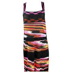 MISSONI Black and Multi Color Sleeveless Spaghetti Strap Maxi Dress