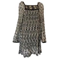 Missoni Black and White Long Sleeve Swing Dress
