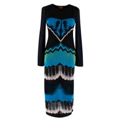 Missoni Black Blue & Green Metallic Knit Midi Dress - Size US 4