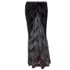 Missoni Black Chevron Pattern Knit Maxi Skirt M