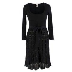 Missoni Black Crotchet Knit-Patterned Stretch Rope Dress - Size US 4