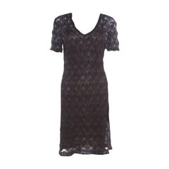 Missoni Black Lurex Patterned Knit V Neck Midi Dress M