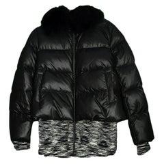 Missoni Black Puffer Jacket w/ Blue Fox Collar