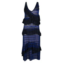 Missoni Blue and Black Lurex Knit Ruffled Sleeveless Dress M