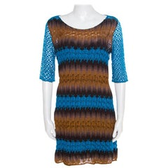 Missoni Blue and Brown Perforated Knit Short Sleeve Dress M