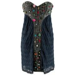 Missoni Blue Beaded Lurex Knit Strapless Mini Dress