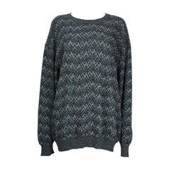 Missoni Blue Black Grey Zigzag Chevron Sweater