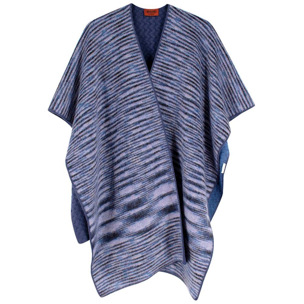 Missoni Blue Cashmere & Wool Striped Knit Poncho - One Size