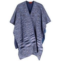 Missoni Blue Cashmere & Wool Striped Knit Poncho - One Size