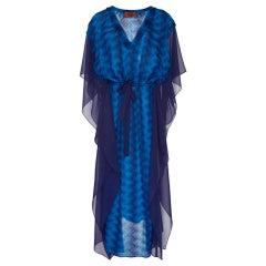 Missoni Blue Metallic Siganature Chevron Crochet Knit Kaftan Maxi Dress
