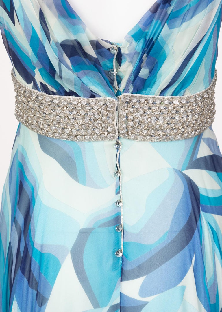 Missoni Blue Printed Plunge Neck Sleeveless Silk Crystal Gown, 2006 For Sale 6
