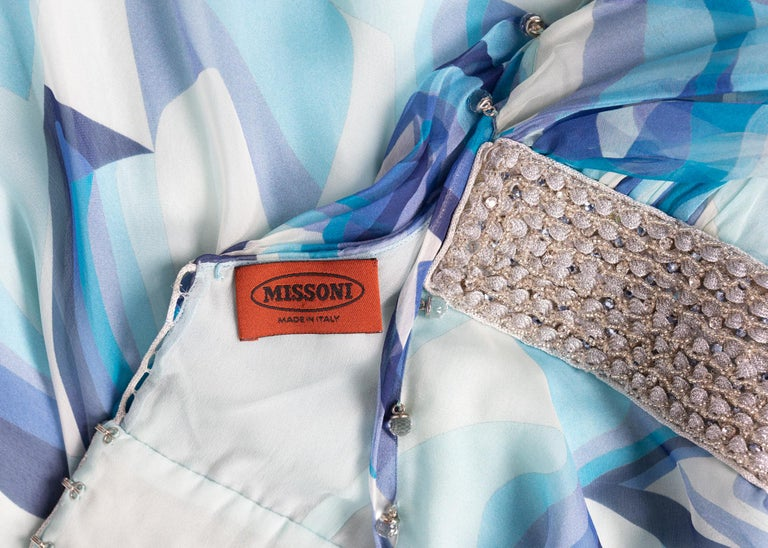 Missoni Blue Printed Plunge Neck Sleeveless Silk Crystal Gown, 2006 For Sale 10