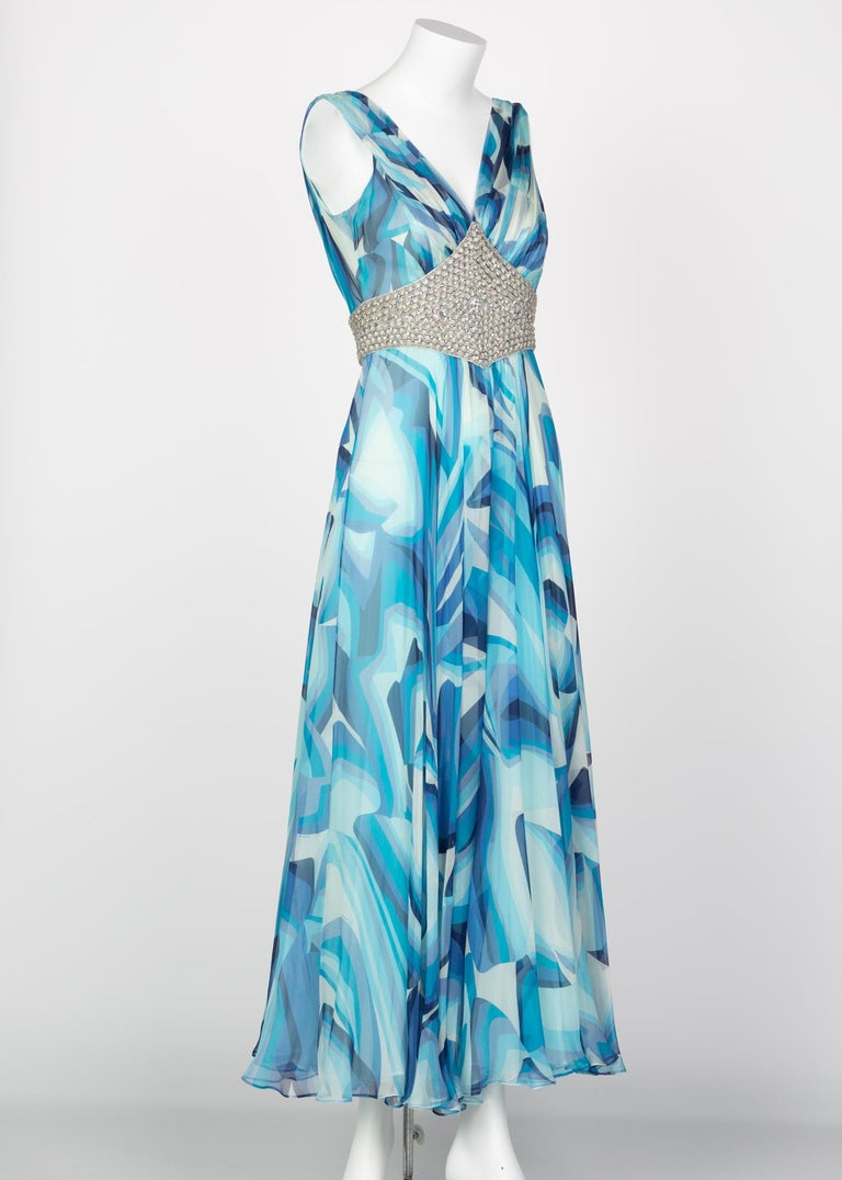 Missoni Blue Printed Plunge Neck Sleeveless Silk Crystal Gown, 2006 In Excellent Condition For Sale In Boca Raton, FL