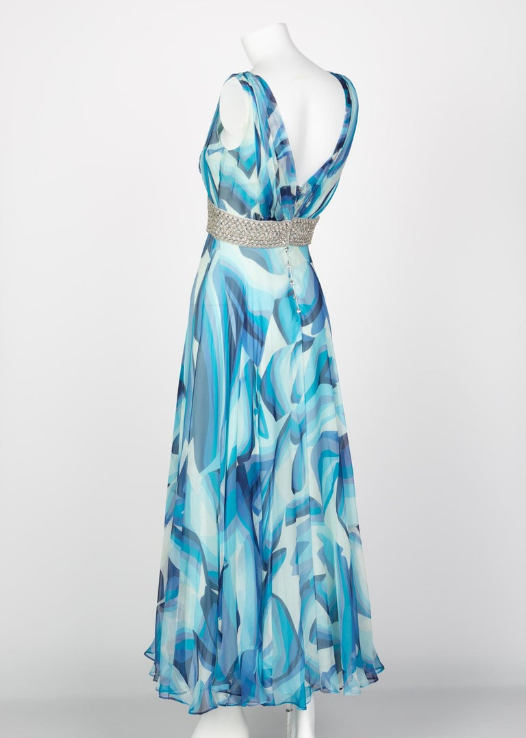 Women's Missoni Blue Printed Plunge Neck Sleeveless Silk Crystal Gown, 2006 For Sale