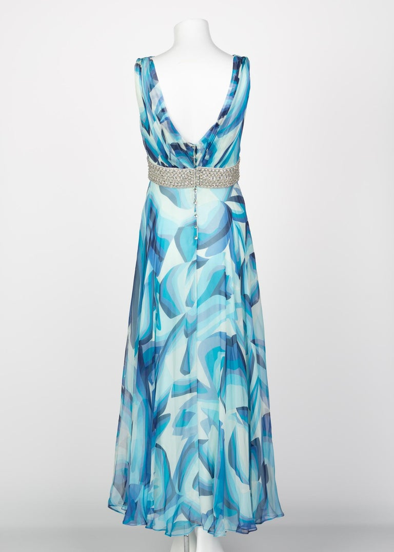 Missoni Blue Printed Plunge Neck Sleeveless Silk Crystal Gown, 2006 For Sale 1