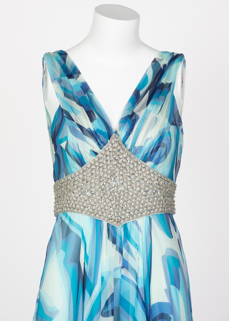 Missoni Blue Printed Plunge Neck Sleeveless Silk Crystal Gown, 2006 For Sale 3