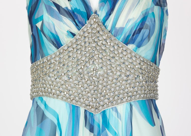 Missoni Blue Printed Plunge Neck Sleeveless Silk Crystal Gown, 2006 For Sale 4