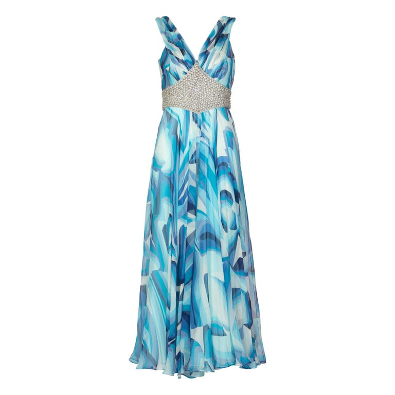 Missoni Blue Printed Plunge Neck Sleeveless Silk Crystal Gown, 2006 For Sale