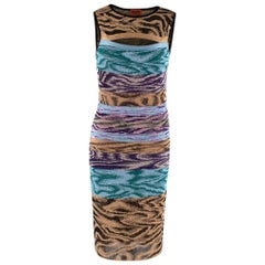 Missoni Blue Purple & Gold Knit Fitted Cut-Out Dress - Size US 4