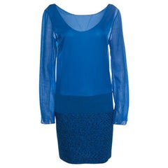 Missoni Blue Textured Lurex Knit Detail Shift Dress M
