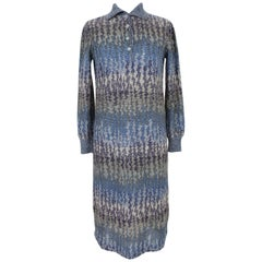 Missoni Blue Wool and Nylon Sweater Long Sheath Dress 1980s