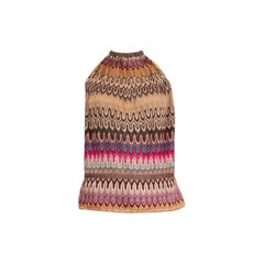 MISSONI brown beige viscose Knit Halter Tank Top Sleeveless Shirt 42 M
