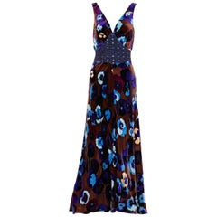 Missoni Brown Blue Purple Silk Velvet Pansy Print Crystal Dress 1930s Style