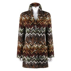 MISSONI c.1970's Multi-Color Chevron Button Up Wool Knit Coat Jacket