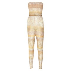 Missoni Chevron Crochet Knit Zigzag Bandeau Belted Jumpsuit Overall Playsuit