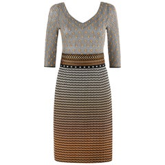 MISSONI Chevron Stripe Polka Dot Ombré Embroidered Waistband Sheath Knit Dress