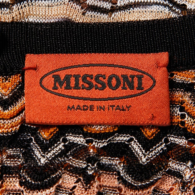 Brown Missoni Chevron Zig Zag Knit Dress with Cut Out Back For Sale