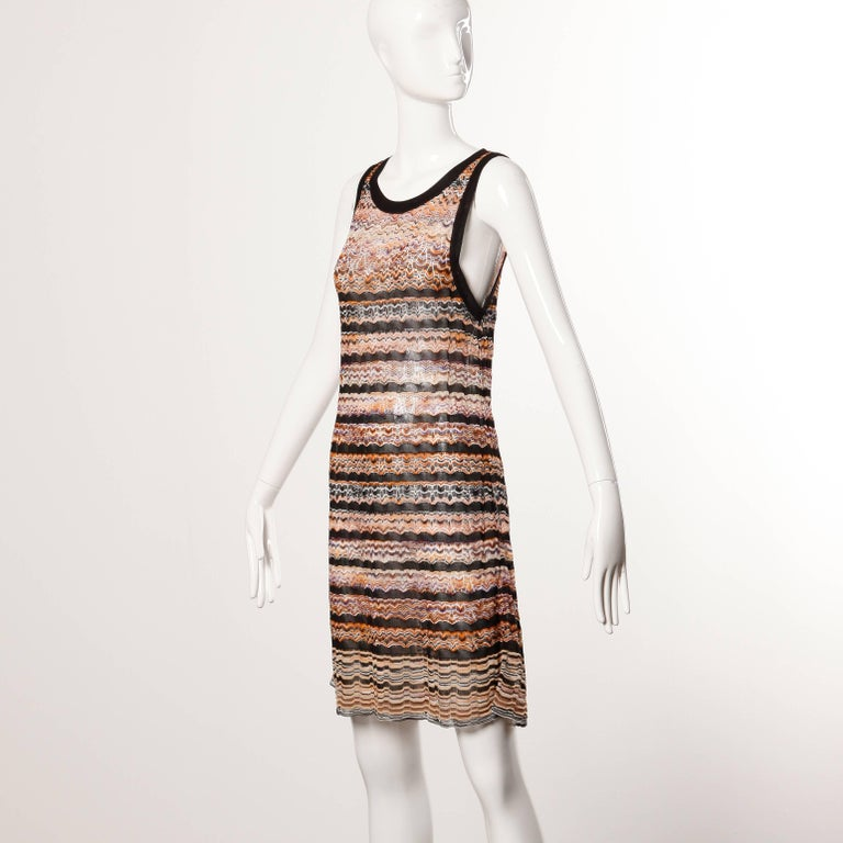 Missoni Chevron Zig Zag Knit Dress with Cut Out Back In Excellent Condition For Sale In Sparks, NV