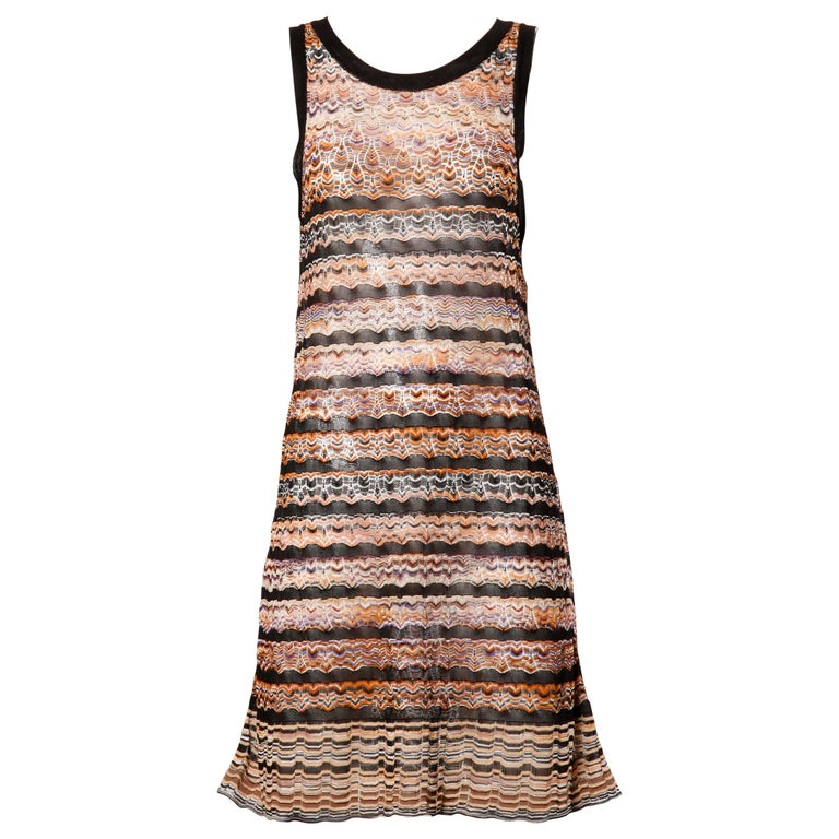 Missoni Chevron Zig Zag Knit Dress with Cut Out Back For Sale