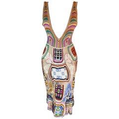 Missoni Collectible 2005 Plunging Decollete Open Back Crochet Knit Dress