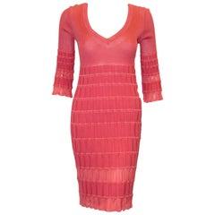 Missoni Coral Knit 3/4 Sleeve V Neck Dress