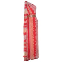 Missoni Coral Pink Floral Print Silk One Shoulder Maxi Dress S