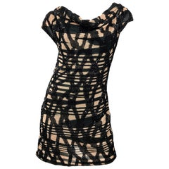 Missoni Early 2000s Black + Nude Sequined Size 40 / 4 - 6 Abstract Mini Dress