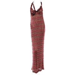 Missoni Embellished Chain Metallic Crochet Knit Evening Dress Gown