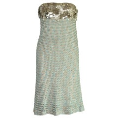 Missoni Embellished Metallic Blue Crochet Knit Corset Evening Cocktai Dress Gown