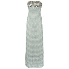 Missoni Embellished Metallic Blue Crochet Knit Corset Evening Dress Gown