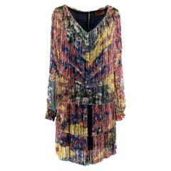 Missoni Floral Print Fringed Tiered Mini Dress as worn by Rihanna - Size US 6