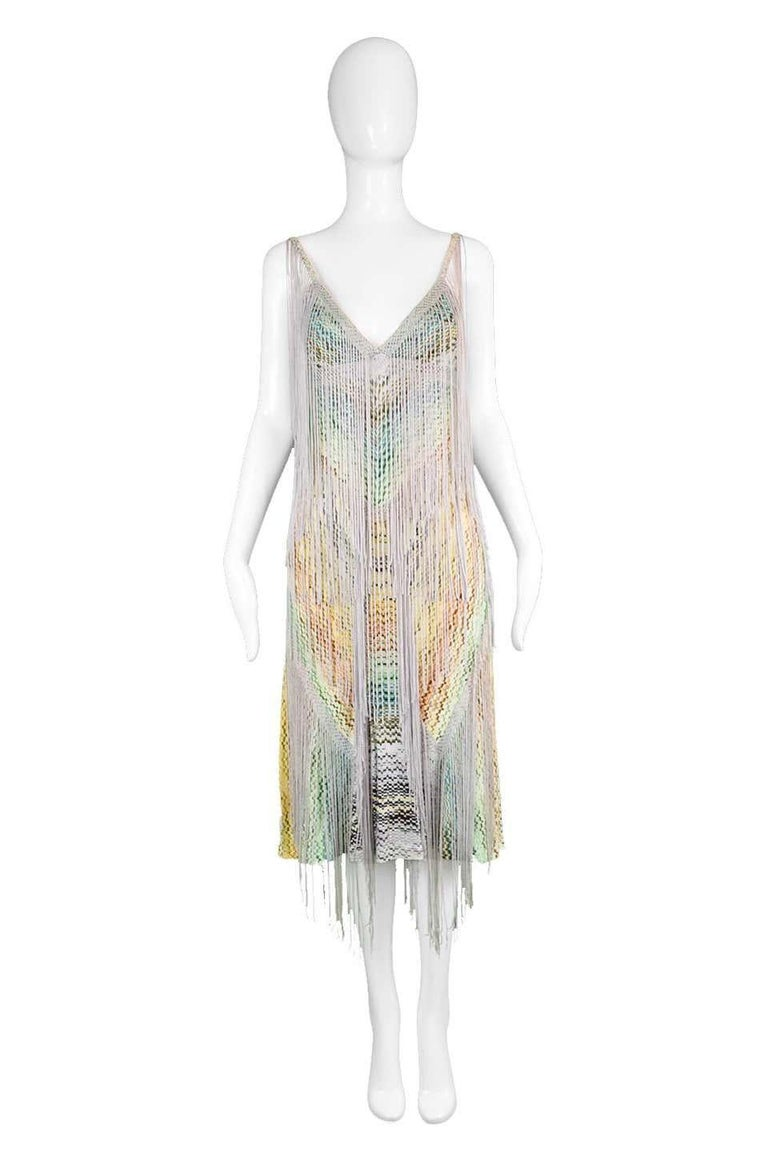 "Missoni Runway Multi Color Fringe & Crochet Knit Dress  Estimated Modern Size: UK 8-10/ US 4-6/ EU 36-38. Please click 'Continue Reading' below to see full measurements and description. Bust - 32"" / 81cm Waist - 28"" / 71cm Hips - 36"" / 91cm Length"