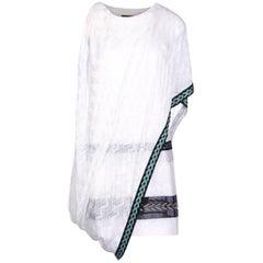 Missoni Glass Embellished White Draped Evening Dress