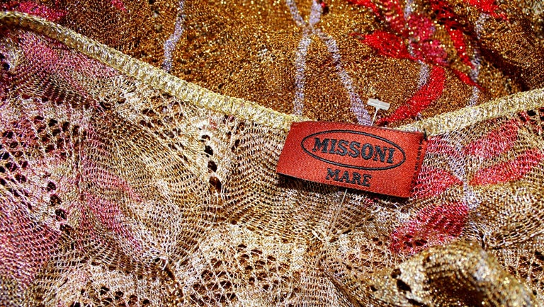 Brown Missoni Gold Metallic Crochet Knit Floral Print Mini Jumpsuit Romper Playsuit For Sale