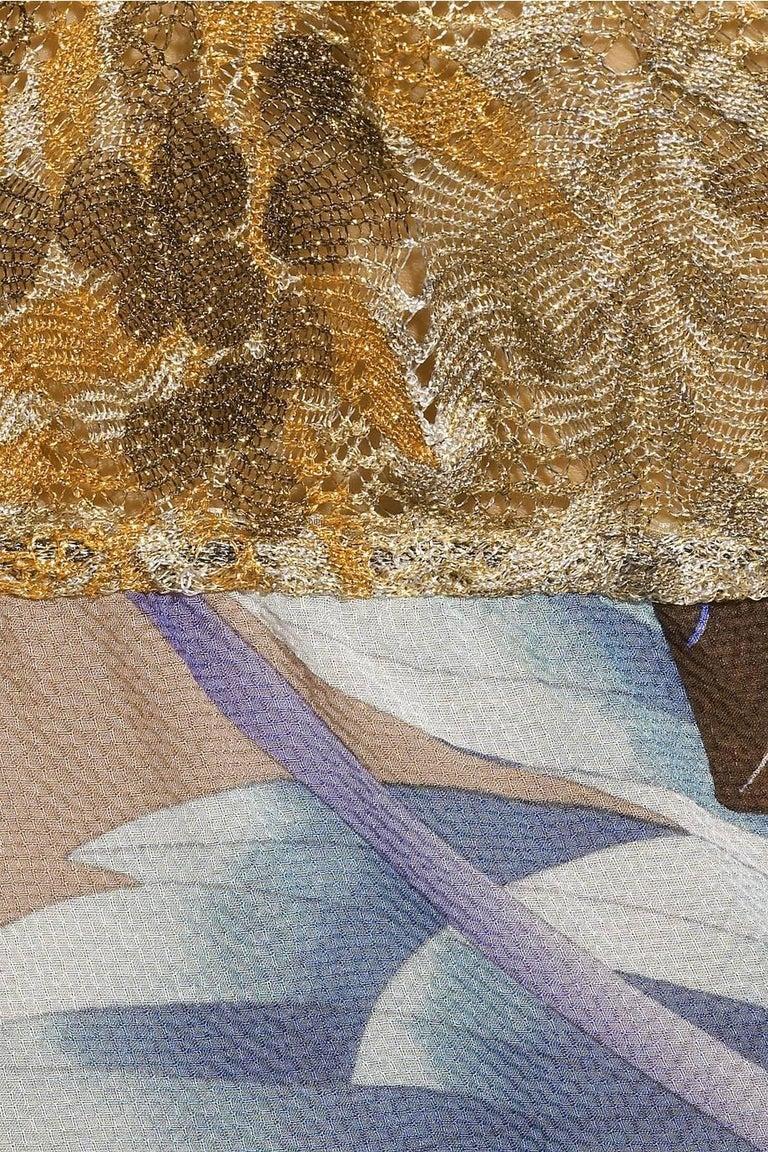 Women's Missoni Gold Metallic Crochet Knit Floral Print Mini Jumpsuit Romper Playsuit For Sale