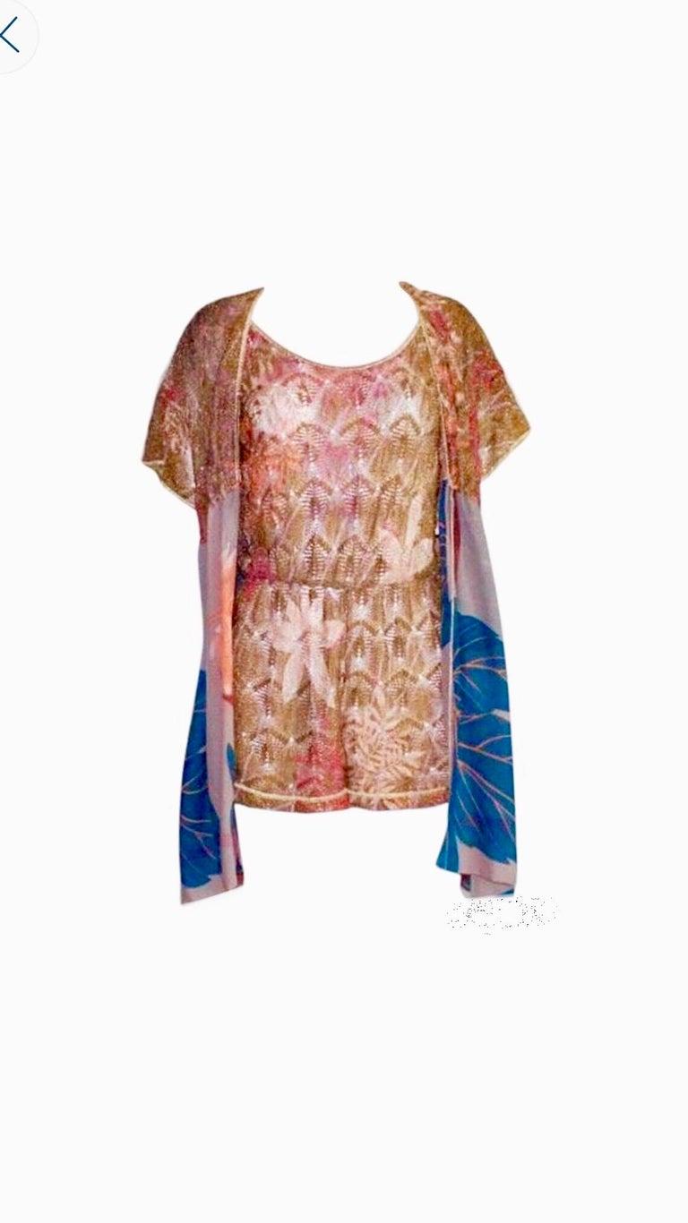 Missoni Gold Metallic Crochet Knit Floral Print Mini Jumpsuit Romper Playsuit For Sale 1