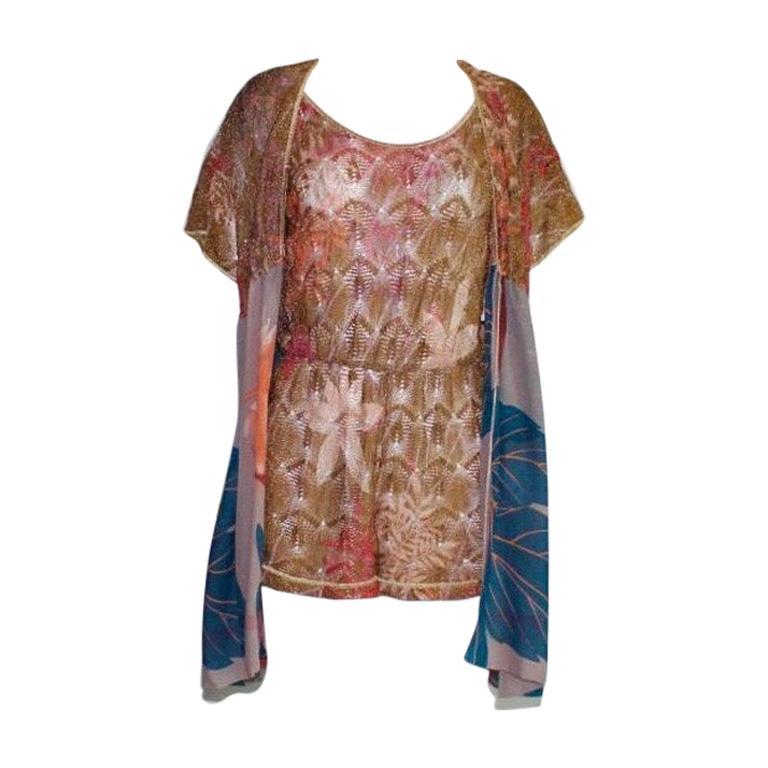Missoni Gold Metallic Crochet Knit Floral Print Mini Jumpsuit Romper Playsuit For Sale 3