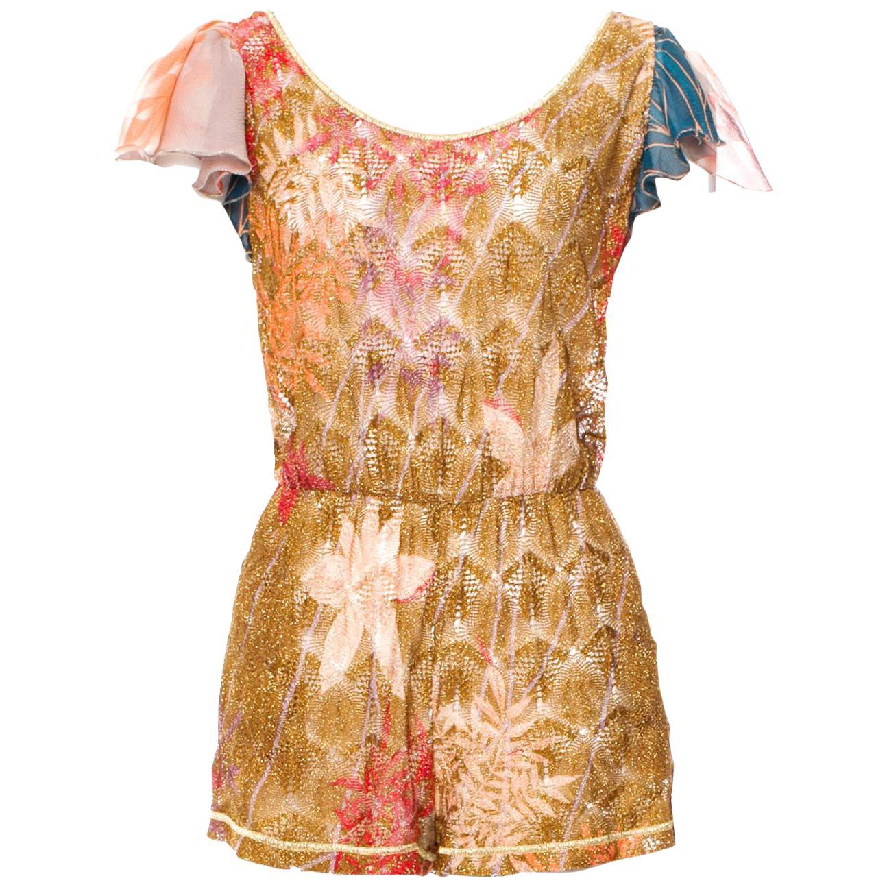 Missoni Gold Metallic Crochet Knit Floral Print Mini Jumpsuit Romper Playsuit