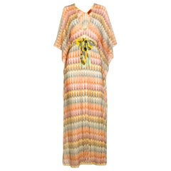 Missoni Gold Metallic Crochet Maxi Knit Kaftan Tunic Dress